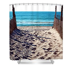 Beach Entry Shower Curtain by John Rizzuto