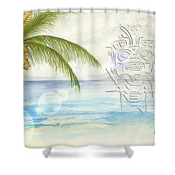 Shower Curtain featuring the digital art Beach Etching by Darren Cannell