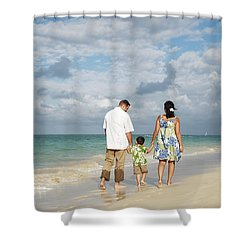 Beach Family Shower Curtain by Brandon Tabiolo - Printscapes