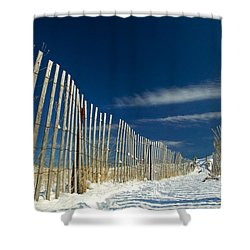 Beach Fence And Snow Shower Curtain by Matt Suess