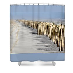 Beach Fence Shirley New York Shower Curtain by Bob Savage