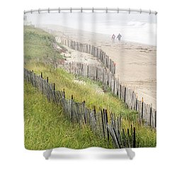 Beach Fences In A Storm Shower Curtain