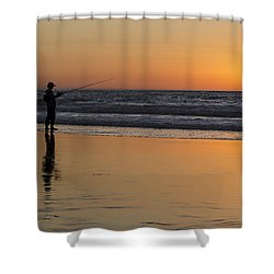 Beach Fishing At Sunset Shower Curtain by Ed Clark