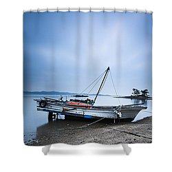 Beach Fishing Boat Shower Curtain