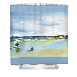 Beach Fishing Shower Curtain by Frank Bright