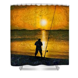 Shower Curtain featuring the photograph Beach Fishing  by Scott Carruthers