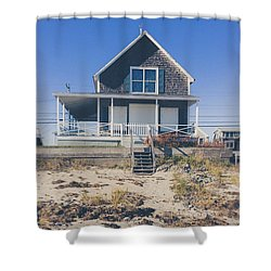 Shower Curtain featuring the photograph Beach Front Cottage by Edward Fielding