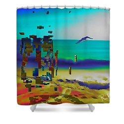 Beach Geometry  Shower Curtain