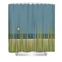 Shower Curtain featuring the digital art Beach Grass And Blue Sky by Val Arie