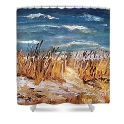 Shower Curtain featuring the painting Beach Grass by Michael Helfen