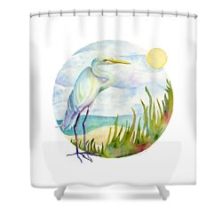 Beach Heron Shower Curtain