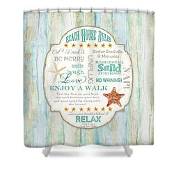Beach House Rules - Refreshing Shore Typography Shower Curtain
