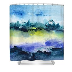 Beach Hut Abstract Shower Curtain by Frank Bright