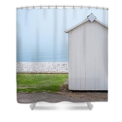 Beach Hut By The Sea Shower Curtain