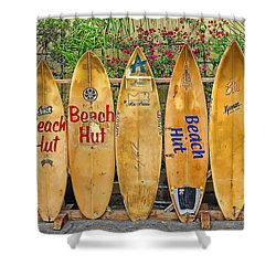 beach hut surfboards shower curtain by donovan torres
