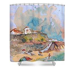 Beach In Ericeira In Portugal Shower Curtain by Miki De Goodaboom