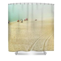 Beach In Fog Shower Curtain by Tony Grider