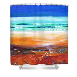 Shower Curtain featuring the painting Beach Joy by Winsome Gunning