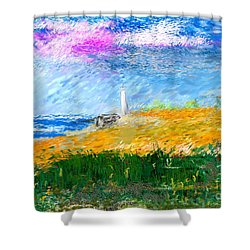 Beach Lighthouse Shower Curtain by David Lane