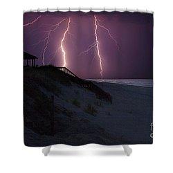 Beach Lighting Storm Shower Curtain