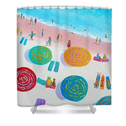 Beach Painting - A Walk In The Sun Shower Curtain