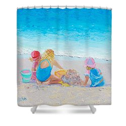 Beach Painting - Building Sandcastles Shower Curtain