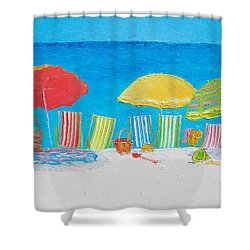Beach Painting - Deck Chairs Shower Curtain