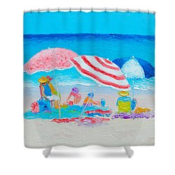 Beach Painting - Summer Beach Vacation Shower Curtain