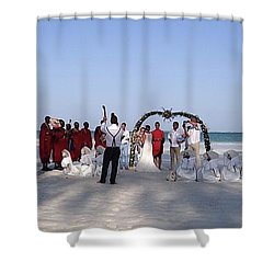 Beach Panoramic Wedding  Shower Curtain