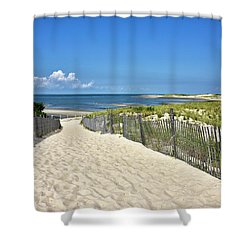 Shower Curtain featuring the photograph Beach Path At Cape Henlopen State Park - The Point - Delaware by Brendan Reals