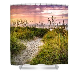 Beach Path Sunrise Shower Curtain by David Smith
