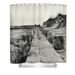 Beach Pilings Shower Curtain