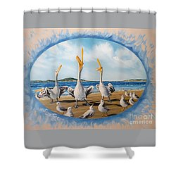 Flying Lamb Productions            Pelicans   Beach Platoon Shower Curtain