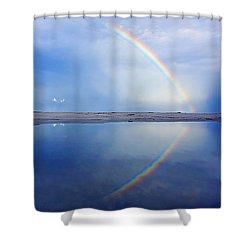 Beach Rainbow Reflection Shower Curtain
