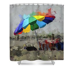 Shower Curtain featuring the mixed media Beach Ready by Trish Tritz