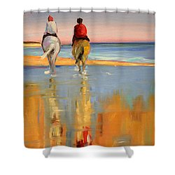 Beach Riders Shower Curtain by Trina Teele