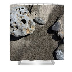 Shower Curtain featuring the photograph Beach Rocks by Joanne Coyle