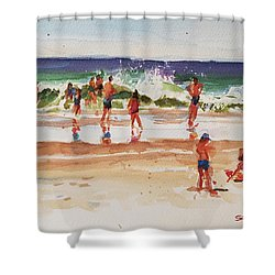 Beach Scene, Afternoon Shower Curtain by Peter Salwen