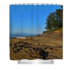 Beach Scene, Berry Point, Gabriola, Bc Shower Curtain