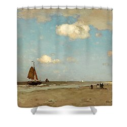 Shower Curtain featuring the painting Beach Scene by Jan Hendrik Weissenbruch