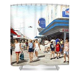 Beach/shore I Boardwalk Ocean City Md - Original Fine Art Painting Shower Curtain
