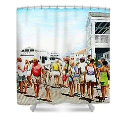 Beach/shore II Boardwalk Beaufort Dock - Original Fine Art Painting Shower Curtain