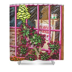 Shower Curtain featuring the painting Beach Side Storefront Window by Katherine Young-Beck