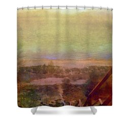 Shower Curtain featuring the digital art Beach Stairs With Hazy Sky by Michelle Calkins
