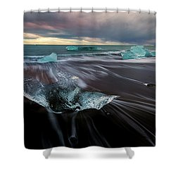 Beach Stranded Shower Curtain by Allen Biedrzycki