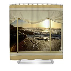 Beach Sunrise From Your Home Or Office By Kaye Menner Shower Curtain by Kaye Menner