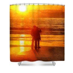 Shower Curtain featuring the digital art Beach Sunrise Love by Francesa Miller