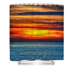 Shower Curtain featuring the photograph Beach Sunset And Boat by Mariola Bitner