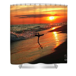Beach Sunset And Cross Shower Curtain