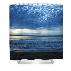 Beach Sunset - Blue Clouds Shower Curtain
